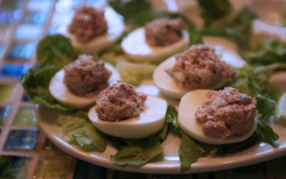 Tuna Salad in a Hard Boiled Egg