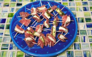 Salami Mozzarella Pesto Skewers